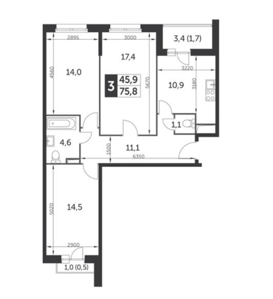 3 комнаты