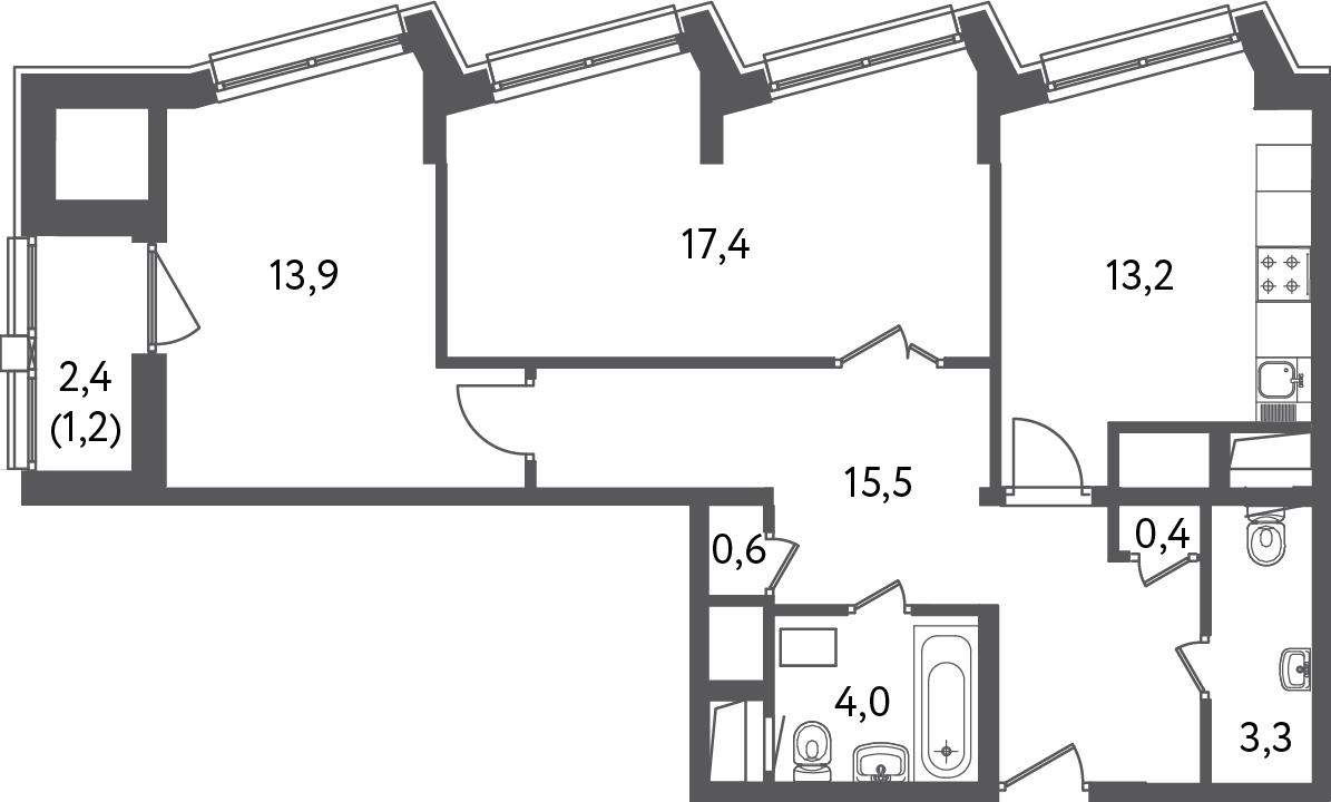 2 комнаты