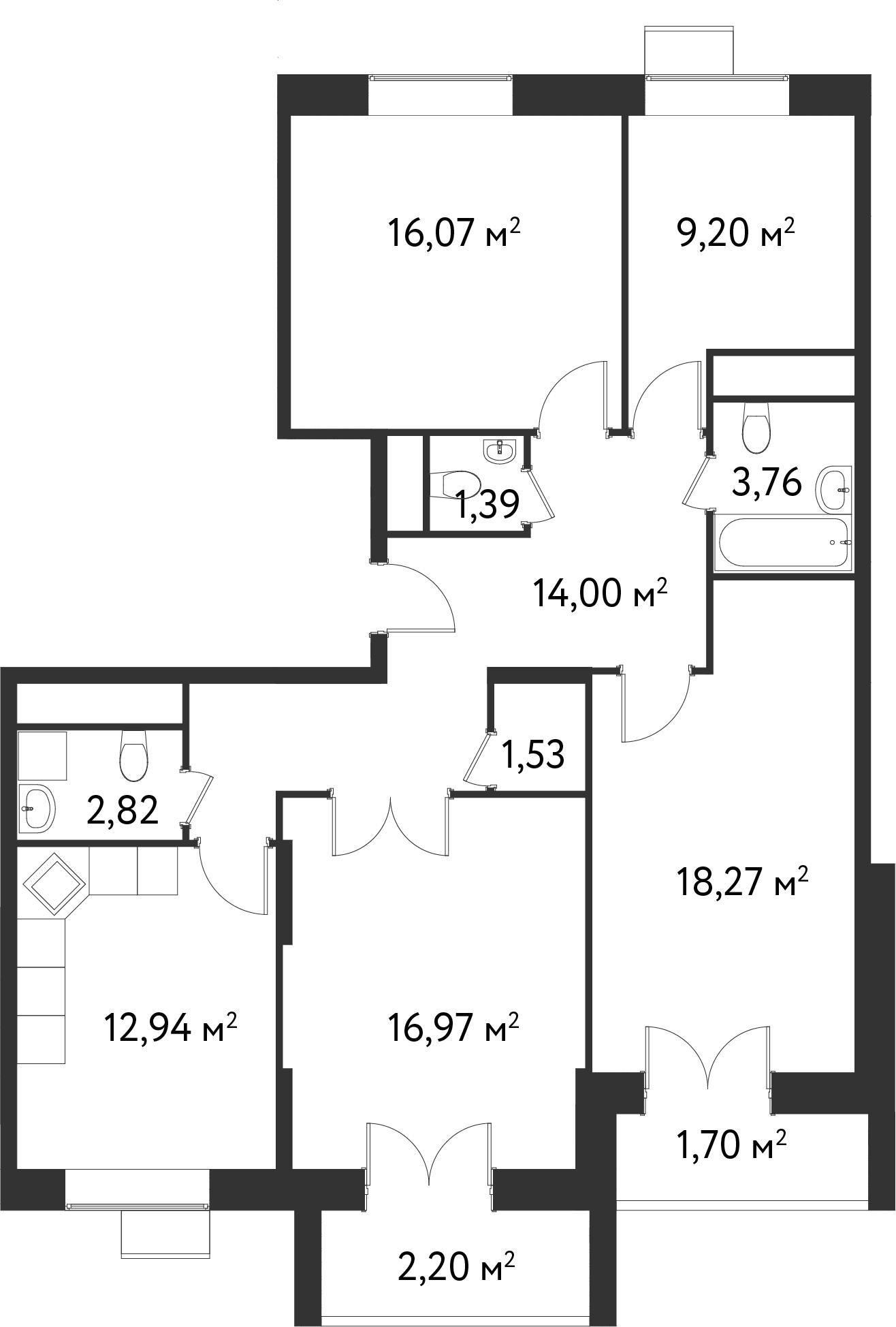 4 комнаты